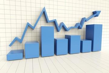 Business. 3D. Blue Charts