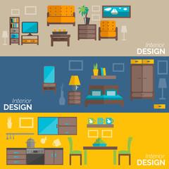 Home furniture design flat banners set