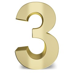 Number. 3D. Golden Three