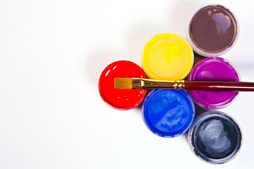 Gouache paints and brushes
