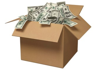 Currency. 3D. Money in the Box