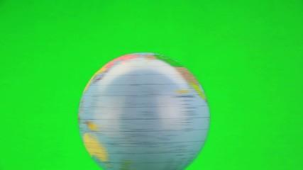 rotating globe on the green screen