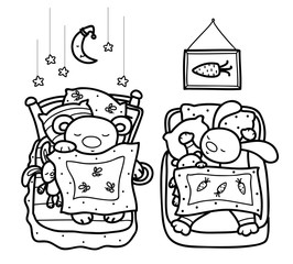 Vector sleeping cute animals, bear and rabbit, black silhouettes
