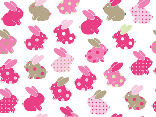 Vector seamless cute  rabbits  pattern ,  pink and green colors,