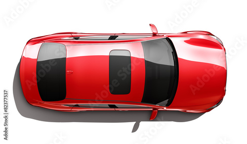 Red luxury car - top angle - 82377537