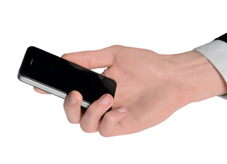 Male hand holding phone