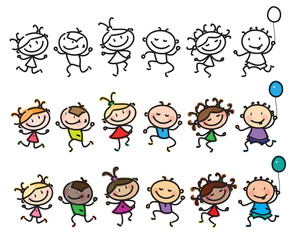 Vector fun, dancing multi-ethnic kids cartoons isolated.