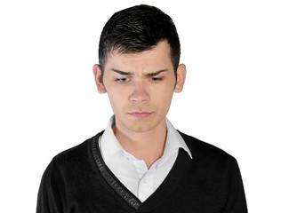 Young man sad looking down