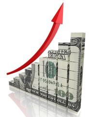 Growth. 3D. Dollar Graph