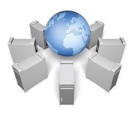 Network Server. 3D. Internet Hosting Elements of this image