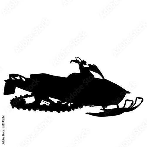 Fototapeta Silhouette snowmobile on white background. Vector illustration.