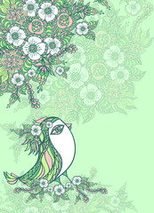Background with spring doodle bird and flowers in blue