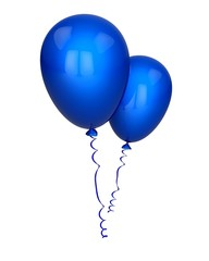 Balloon. 3D. Two Blue Balloons