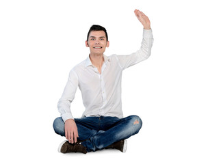 Young man welcome gesture