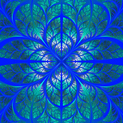 Symmetrical pattern of the leaves in blue and green. Collection