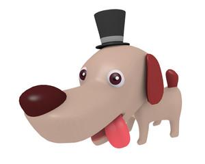 シルクハットをかぶった犬