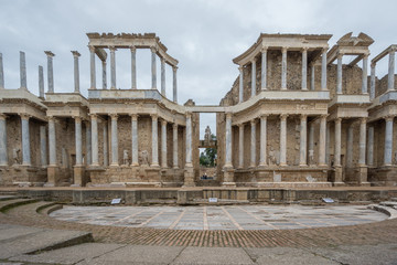 The Roman Theatre in Merida, Spain. Front View