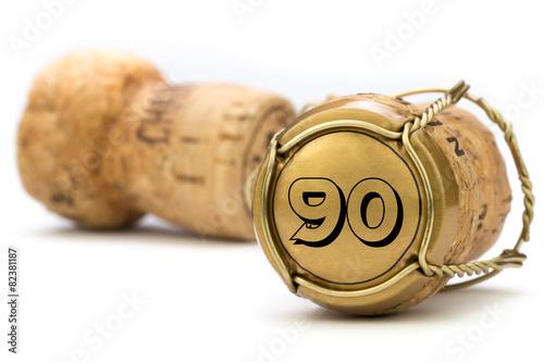 Foto op Plexiglas Uitvoering Champagnerkorken Jubiläum 90 Jahre