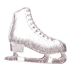Vetor sketch of skates hand drawing