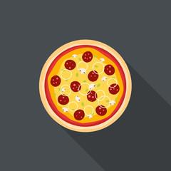 Italian pizza flat style background