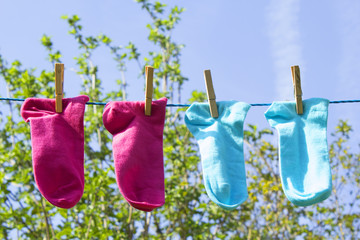 Clothes line with colorful socks
