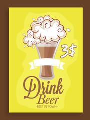 Menu card design for beer bar.