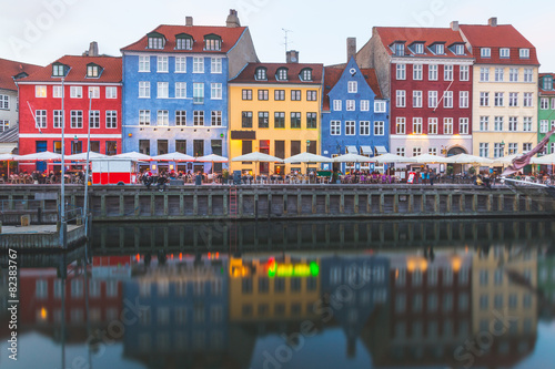Stampa su Tela Colorful houses in Copenhagen old town