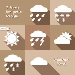 Monochrome icons design of weather forecast