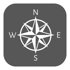 The compass icon. Navigation symbol. Flat