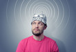 Bearded funny man in a cap of aluminum foil sends signals - 82388180