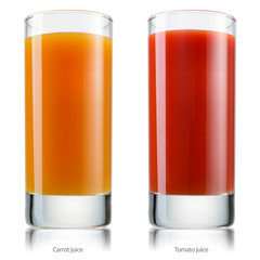 Glass of juice. Tomato and carrot. With clipping path.