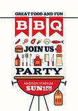 grilled bbq party icon style for invitation car or flyer or post