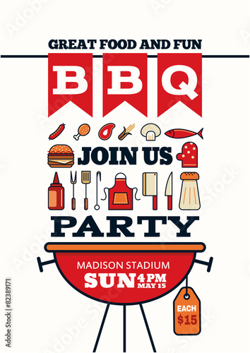 grilled bbq party icon style for invitation car or flyer or post - 82389171