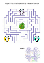 Maze game for kids - panda bears