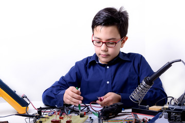 Young student performs experiments