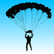 Parachutist Jumper in the helmet after the jump. Vector illustra - 82392321