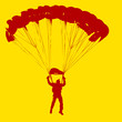 Parachutist Jumper in the helmet after the jump. Vector illustra - 82392334