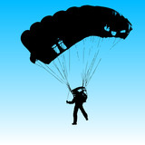 Parachutist Jumper in the helmet after the jump. Vector illustra