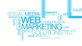 Web marketing solutions blue tag cloud animation
