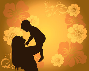 Loving mom and son with floral background