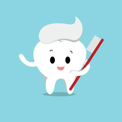 Vector of Cute healthy white tooth with toothbrush