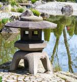 japanese garden - detail at a pond