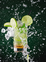 fresh mojito drink with liquid and drift