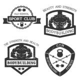 Fototapety Set of emblem bodybuilding and fitness.