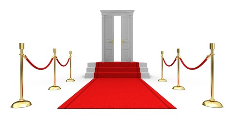 Red Carpet. 3D. Red carpet leading up the stairs