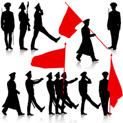 Silhouette  military people  with flags collection.  Vector illu
