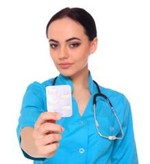 Doctor giving medicine pills.