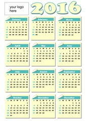 2016 year-round calendar, rolled paper tickets for each month