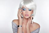 Beautiful fashion blond girl with bob hair. Makeup. Jewelry. Sho