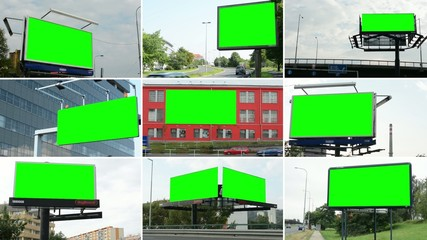 montage- billboard in the city near road - green screen